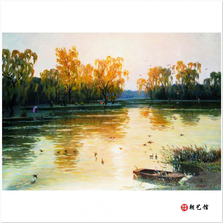 金正泰《河边的傍晚》朝鲜风景油-ll