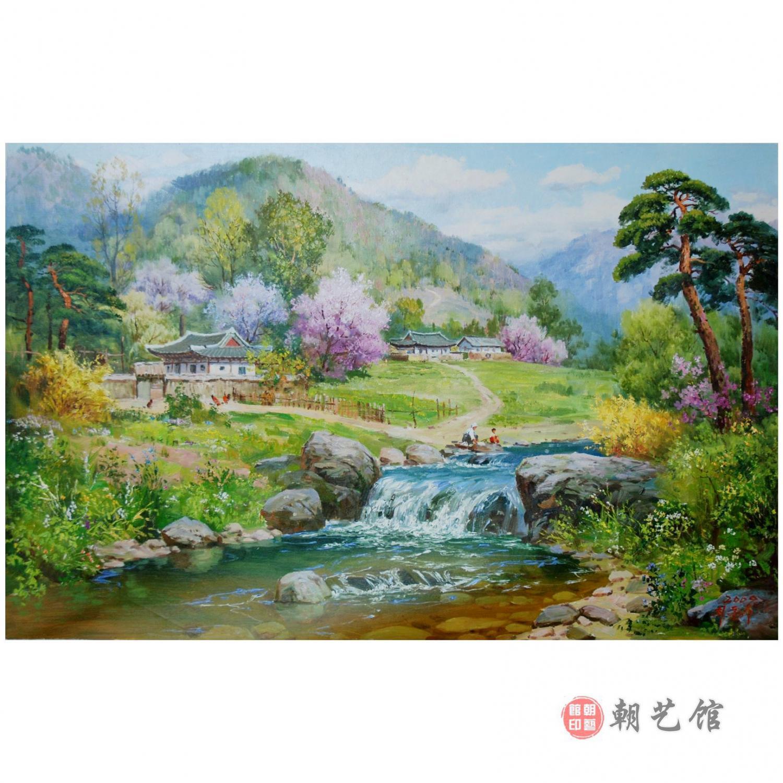 崔东洙《家乡的春天》朝鲜油画-kk