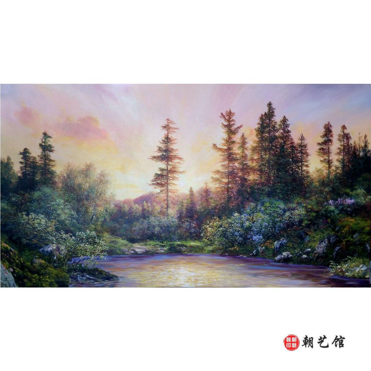 姜正哲《晚霞的风景》朝鲜油画