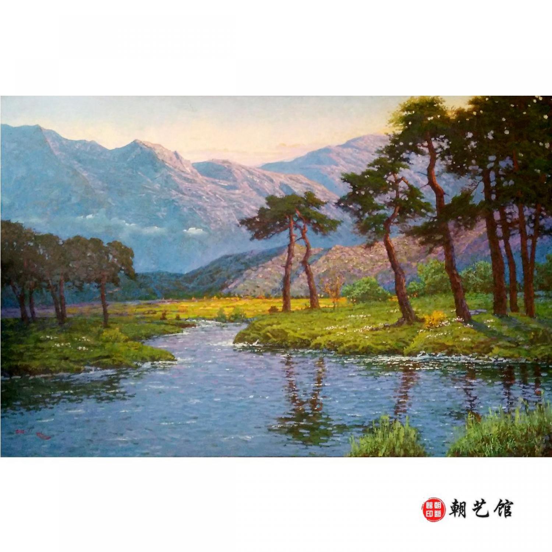 朴镇《有松树的风景》朝鲜油画_风景油画_朝鲜油画_画