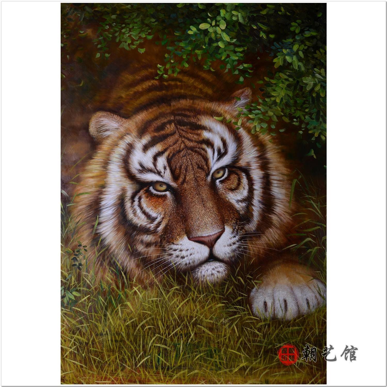 方大兴《虎》朝鲜油画动物-wzl