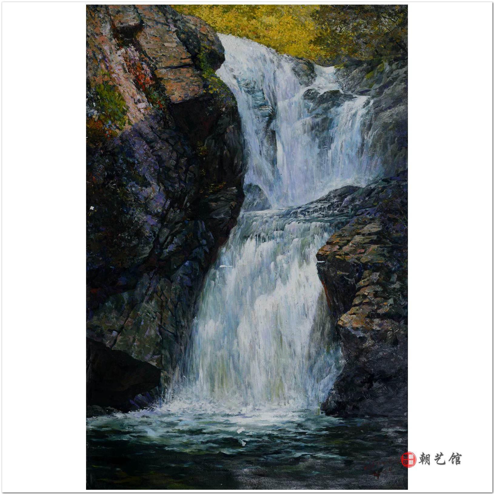 李成山《瀑布》朝鲜油画风景-hu-kk-hqh